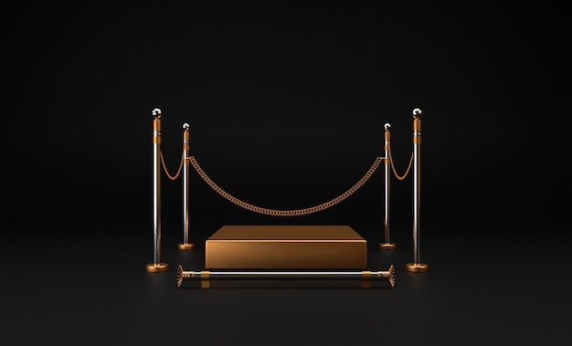Plataforma dourada para mostrar o produto, 3d render premium photo