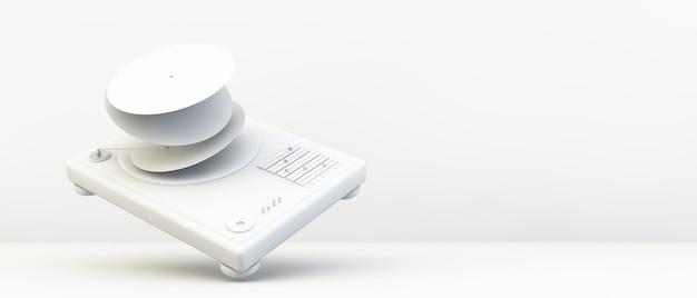 Plataforma giratória de dj em papel branco em renderização 3d