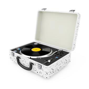 Plataforma giratória portátil do reprodutor de música estilo vintage em caixa branca em um fundo branco. renderização 3d