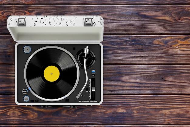 Plataforma giratória portátil estilo vintage estilo música em caixa branca sobre uma mesa de madeira. renderização 3d