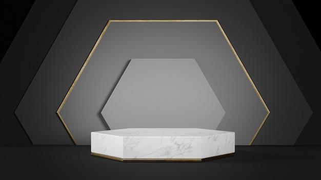 Plataforma hexagonal com fundo preto geométrico renderização em 3d