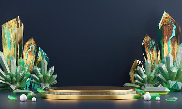 Plataforma luxuosa abstrata da fase com cristal esmeralda e ambarino, para anunciar a exposição do produto, rendição 3d.