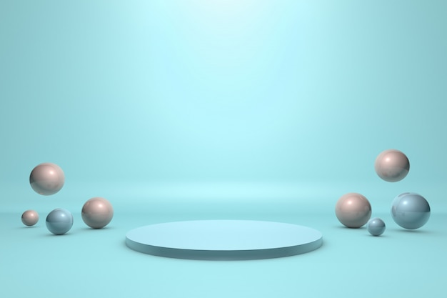 Plataforma para produto com esferas flutuantes