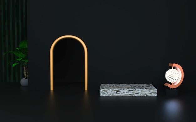 Plataforma preta de luxo para produto de estande