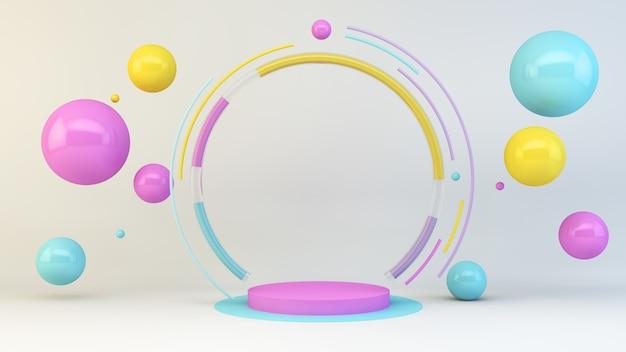 Plataforma rosa com esferas coloridas flutuantes