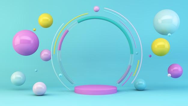 Plataforma rosa com esferas coloridas