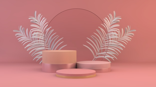 Plataforma rosa para apresentação de produto renderização em 3d