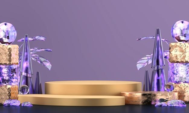 Plataforma roxa luxuosa abstrata da fase da elegância, para anunciar a exposição dos produtos, rendição 3d.