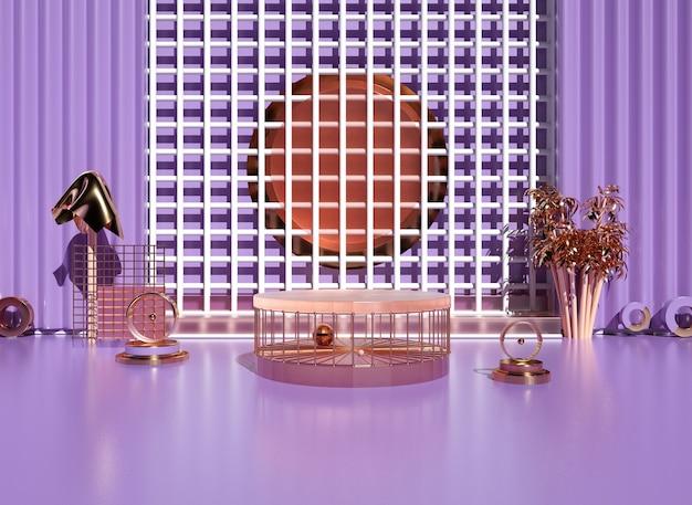 Plataforma roxa romântica com pedestal para produto de suporte