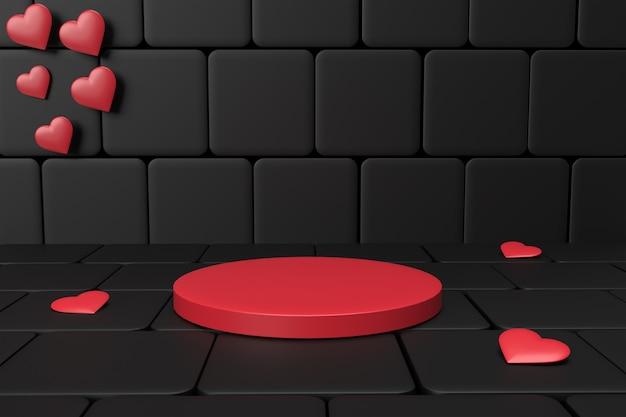 Plataforma vermelha para colocação de produtos para o dia dos namorados