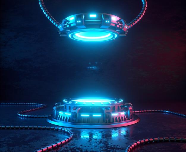 Plataformas cibernéticas com luzes de néon brilhantes.
