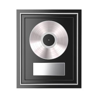 Platinum ou silver vinyl ou cd prize award com etiqueta em moldura preta em um fundo branco. renderização 3d