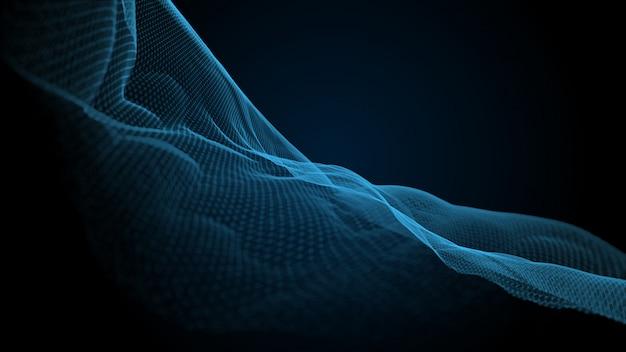 Plexo curva onda efeito 3d fundo azul