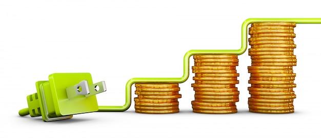 Plugue padrão americano verde e pilhas de moedas. 3d render