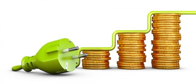 Plugue verde do padrão europeu e pilhas de moedas. 3d render