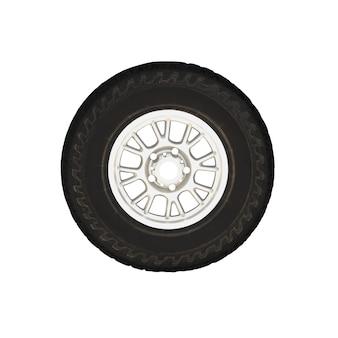 Pneu para todas as estações no aro da roda isolado no fundo branco