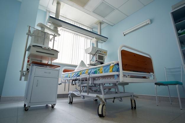 Pneumonia devido ao coronavírus. o pronto-socorro vazio de terapia intensiva está pronto para receber pacientes com infecção por coronavírus.