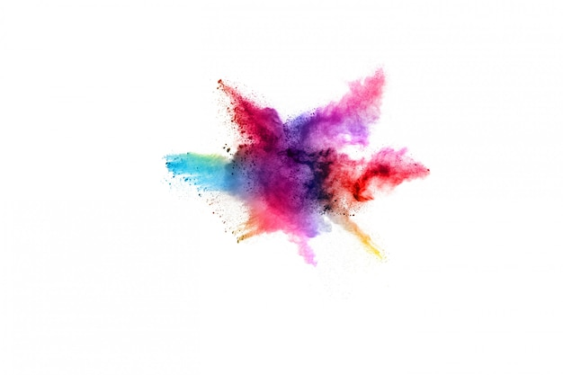 Pó abstrato splatted fundo. explosão de pó colorido sobre fundo branco.