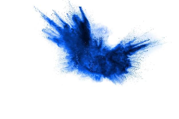 Pó azul salpicado no fundo.