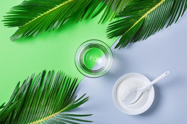 Pó de colágeno em um fundo de hortelã na moda com folhas de palmeira verdes. suplemento de beleza natural e saúde, conceito anti-envelhecimento de bem-estar para a pele. vista superior, configuração plana, espaço de cópia