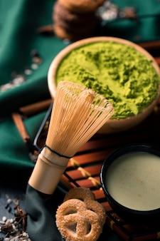 Pó verde saudável para chá matcha