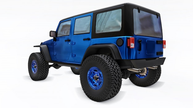 Poderoso suv afinado azul para expedições em montanhas, pântanos, deserto e qualquer terreno acidentado em branco. rodas grandes, levante a suspensão para obstáculos íngremes. ilustração 3d em fundo branco