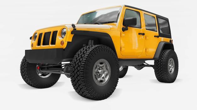 Poderoso suv amarelo afinado para expedições em montanhas, pântanos, deserto e qualquer terreno acidentado. rodas grandes, suspensão de levantamento para obstáculos íngremes. renderização 3d.