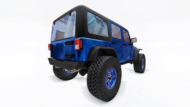 Poderoso suv sintonizado em azul para expedições em montanhas, pântanos, deserto e qualquer terreno acidentado no branco. rodas grandes, suspensão de levantamento para obstáculos íngremes. ilustração 3d em fundo branco. renderização 3d.