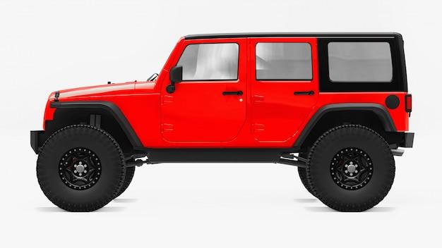 Poderoso suv vermelho afinado para expedições em montanhas, pântanos, deserto e qualquer terreno acidentado. rodas grandes, suspensão de elevação para obstáculos íngremes