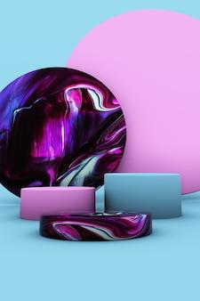 Pódio 3d abstrato de mármore violeta sobre fundo azul