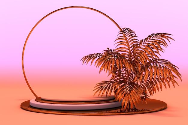 Pódio 3d com pedestal de ouro palm para apresentação do produto maquete de fundo abstrato geométrico