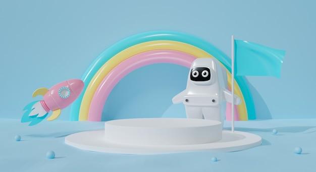 Pódio 3d em fundo pastel. garoto astronauta de desenho animado e foguete.