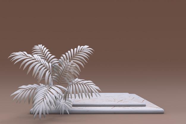 Pódio 3d quadrado bege com padrão de pele de cobra ou réptil pedestal de promoção de produto marrom