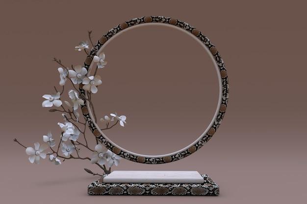 Pódio 3d quadrado bege com padrão de pele de cobra ou réptil promoção de produtos cosméticos de beleza marrom