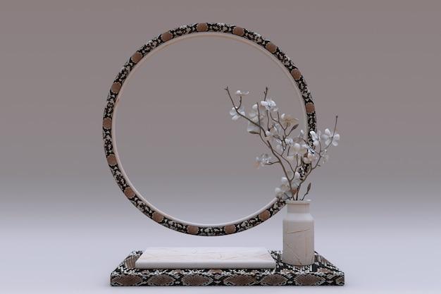 Pódio 3d quadrado bege com padrão de réptil em pele de cobra e pedestal de moldura circular com flores de vaso