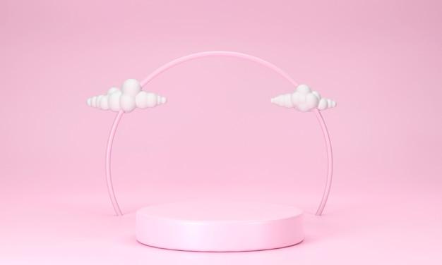Pódio 3d rosa com nuvens em um fundo rosa layout geométrico do palco do pódio para vitrine de produtos