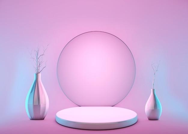 Pódio 3d, suporte, plataforma com flores de vasos em fundo rosa pastel.
