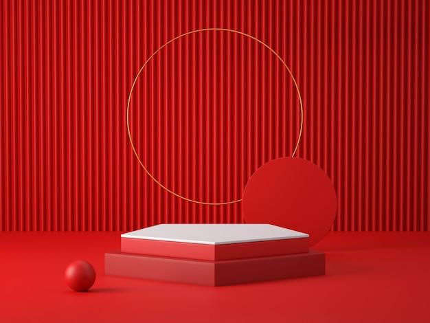 Pódio 3d vermelho e branco na sala vermelha