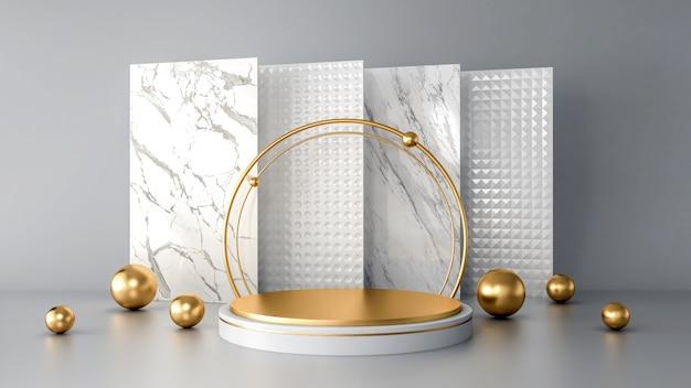 Pódio abstrato branco com formas geométricas douradas