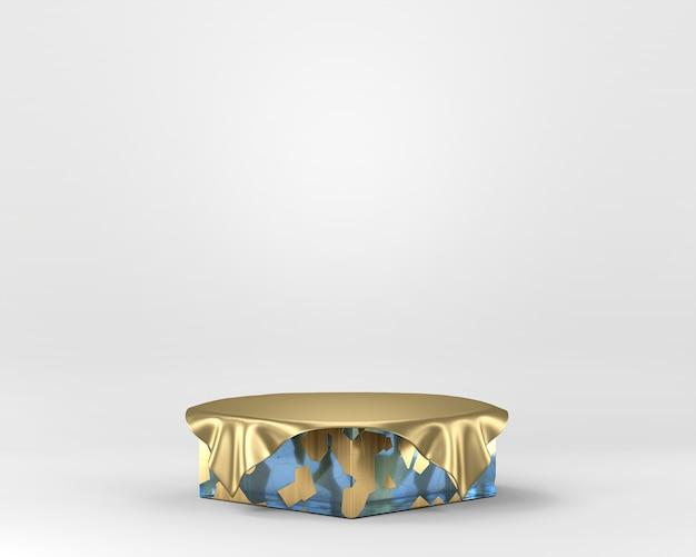 Pódio abstrato da fase do ouro da elegância, molde para anunciar a exposição do produto, rendição 3d.