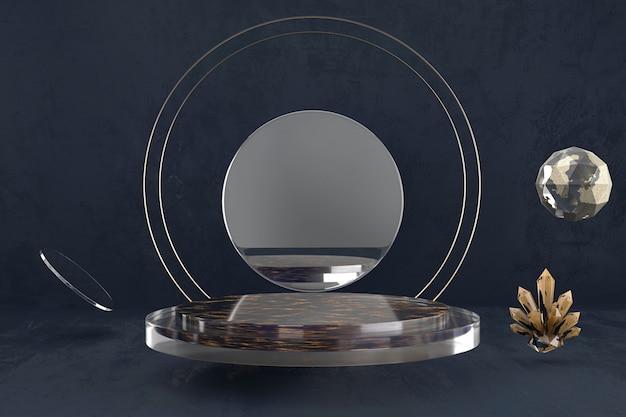Pódio abstrato da plataforma da fase, anunciando a exposição do produto, rendição 3d.