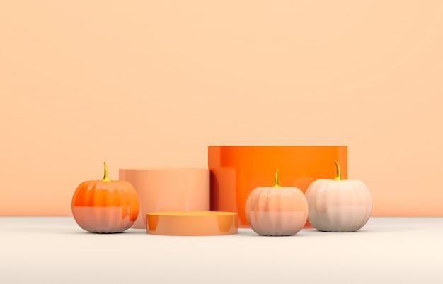Pódio abstrato de 3d halloween com caixa de cilindro laranja e abóboras para exibição de produtos.