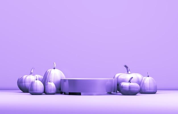 Pódio abstrato de 3d halloween com caixa de cilindro pastel e abóboras para exibição de produtos.