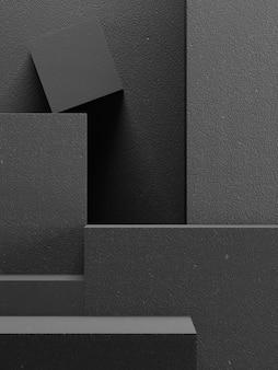 Pódio abstrato do tijolo do bloco background.black para apresentação do produto. ilustração de renderização 3d.