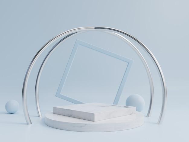 Pódio abstrato para a colocação de produtos e para a colocação de prêmios com fundo azul.