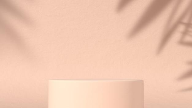 Pódio abstrato para colocação de produtos cosméticos em fundo natural