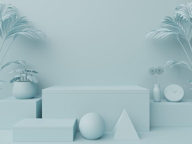 Pódio abstrato para colocação de produtos e colocação de prêmios em azul.