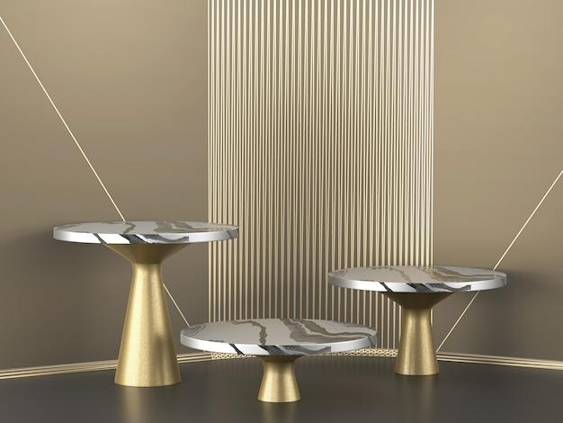 Pódio abstrato plataforma de ouro e mármore
