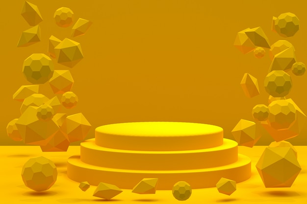 Pódio amarelo com formas flutuantes abstratas