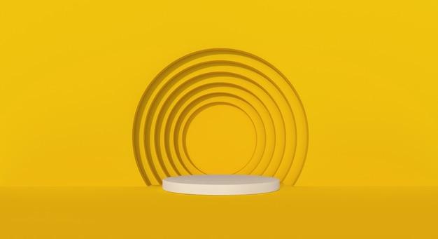 Pódio amarelo com fundo de círculos. renderização 3d.